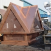 Standing Seam Copper Chimney Hood with Copper Mesh