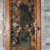 Patina Pounded Steel and Grape Leaf Wine Cellar Door Insert