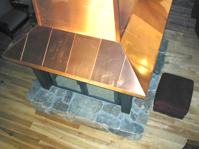 4-Sided Copper Chimney Case Steel Fireplace Surround with Glass Doors Top View