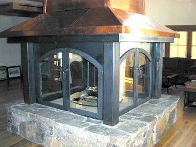 4-Sided Copper Chimney Case Steel Fireplace Surround with Glass Doors