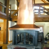 4-Sided Copper Chimney Case Steel Fireplace Surround with Glass Doors Full View