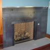 Overlapping Steel Fireplace Panels