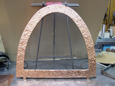 Pounded Mirror Copper Surround with Steel Mesh