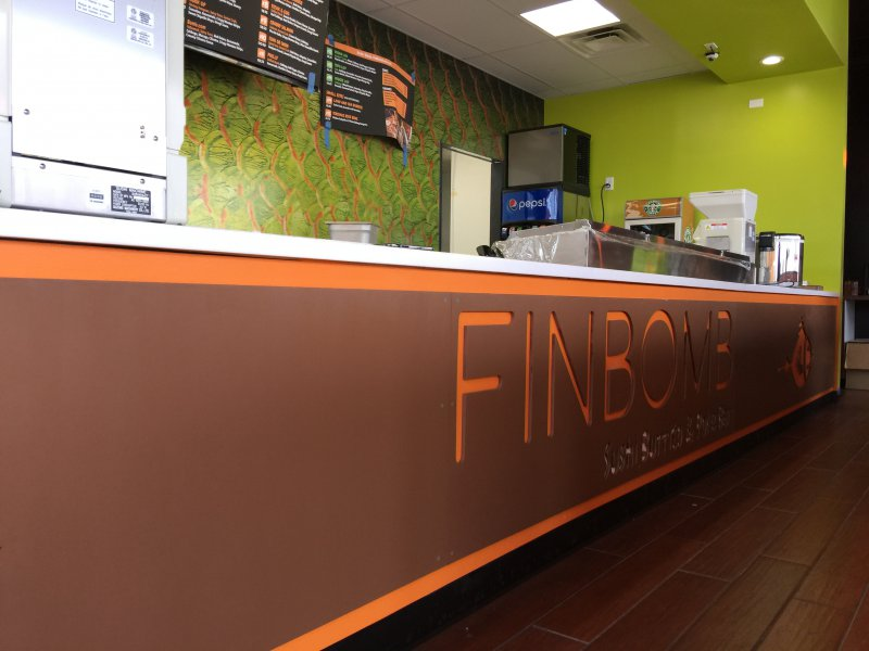 FinBomb Front counter signage