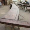 Pounded and Flamed Radius Copper Countertop