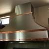 Stainless Steel Hood with Mirrored Copper Bands